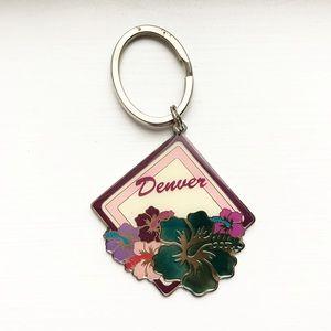 Vintage Denver, CO hibiscus flower keychain